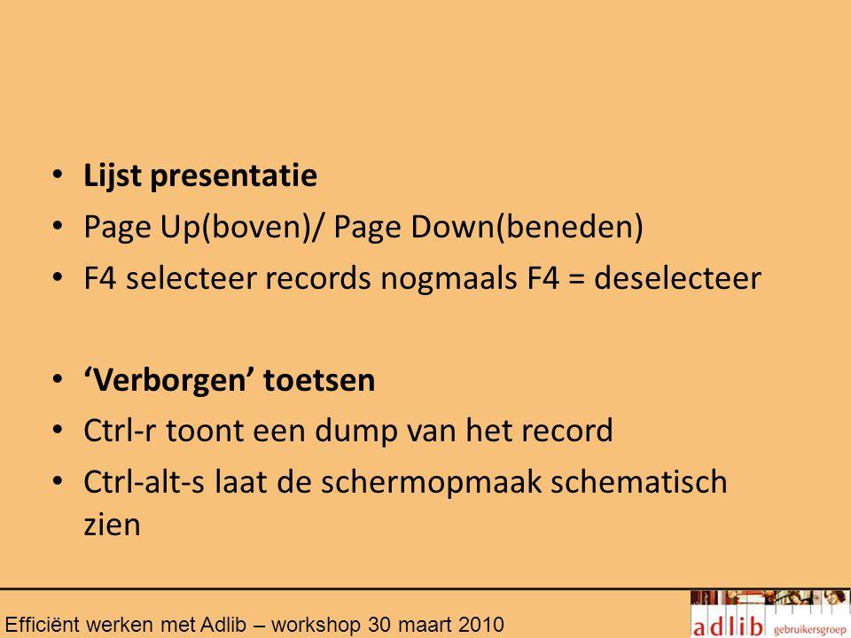 Sneltoetsen Ctrl + N = nieuw record Crtl + S = record opslaan F11 = opslaan en wijzigen Ctrl + Y = maak veld leeg Delete = verwijder record Ctrl-enter: voeg occurrence toe Shift-enter: nieuwe alinea binnen huidige occurrence Nieuwe regel met enter Efficiënt werken met Adlib – workshop 30 maart 2010