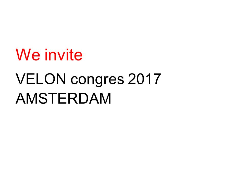 We invite VELON congres 2017 AMSTERDAM