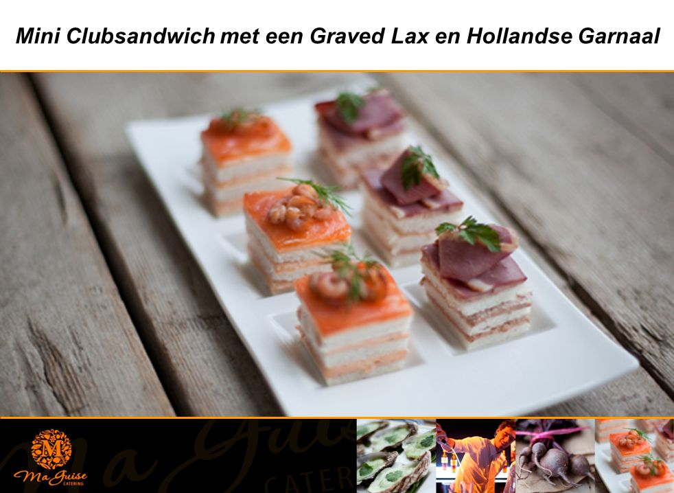 Mini Clubsandwich met een Graved Lax en Hollandse Garnaal