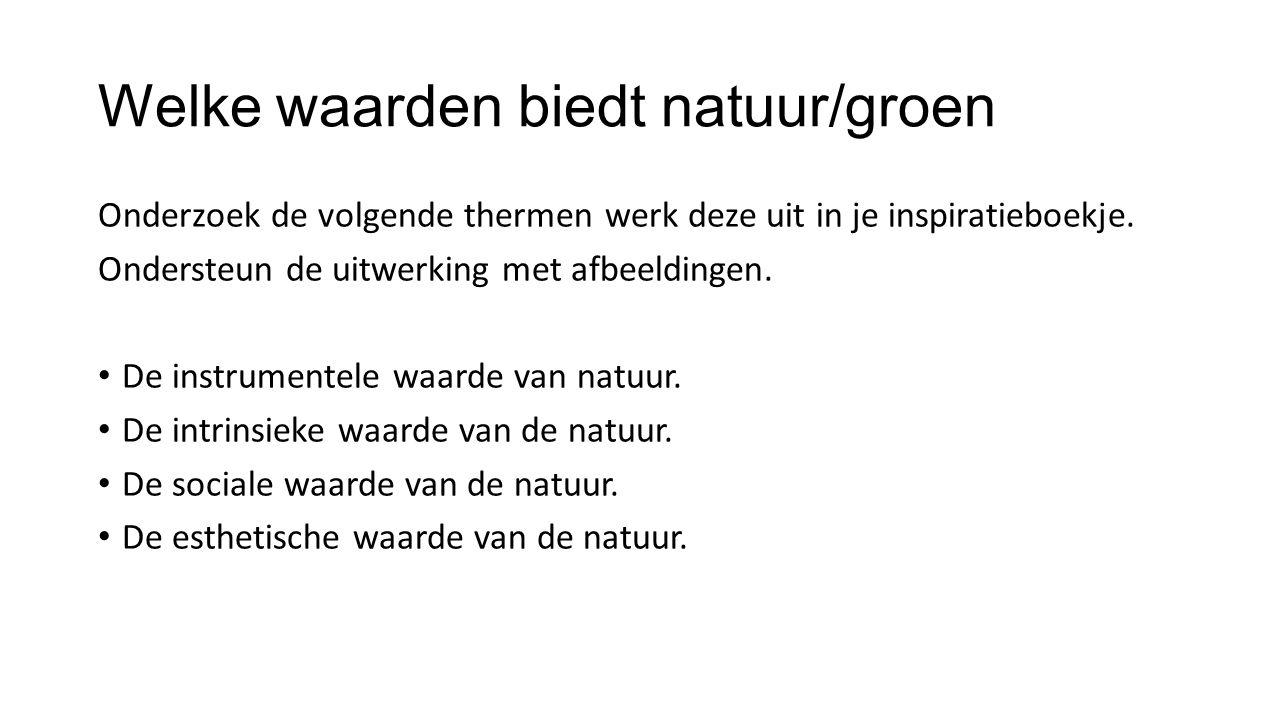 Welke waarden biedt natuur/groen Onderzoek de volgende thermen werk deze uit in je inspiratieboekje. Ondersteun de uitwerking met afbeeldingen. De ins