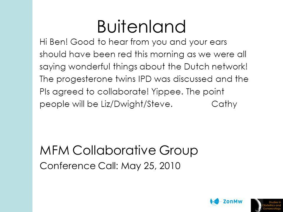 Buitenland Hi Ben.