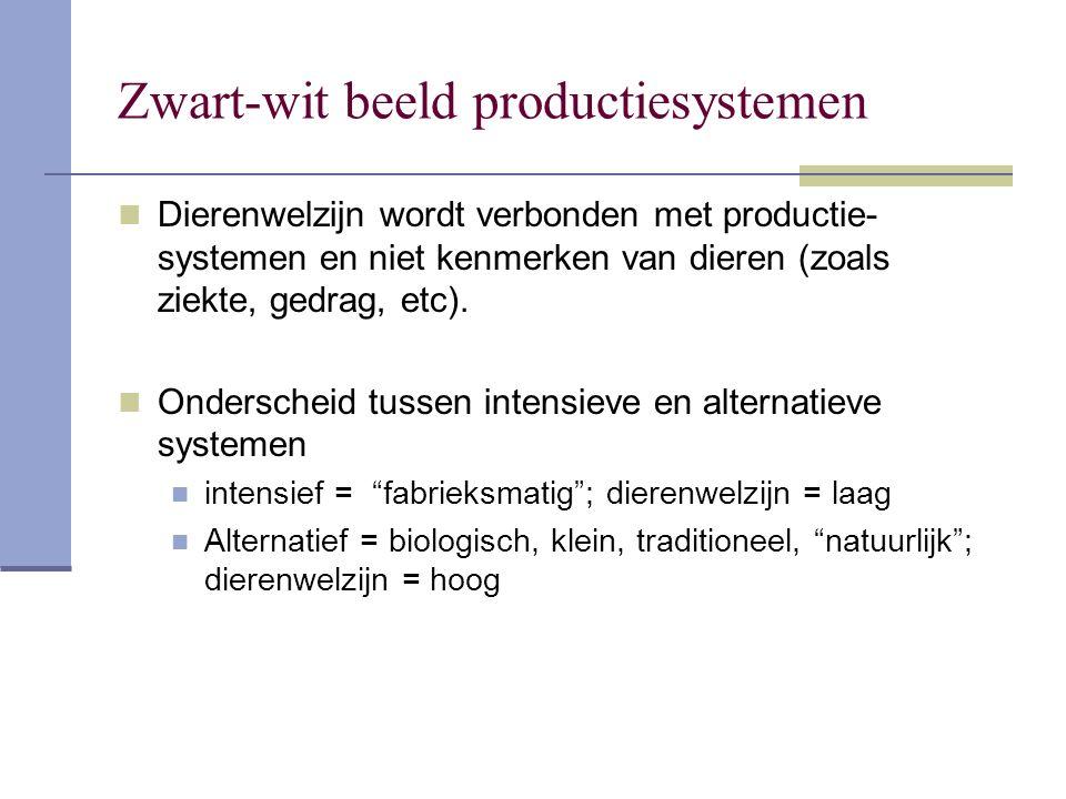 Zwart-wit beeld productiesystemen Dierenwelzijn wordt verbonden met productie- systemen en niet kenmerken van dieren (zoals ziekte, gedrag, etc).