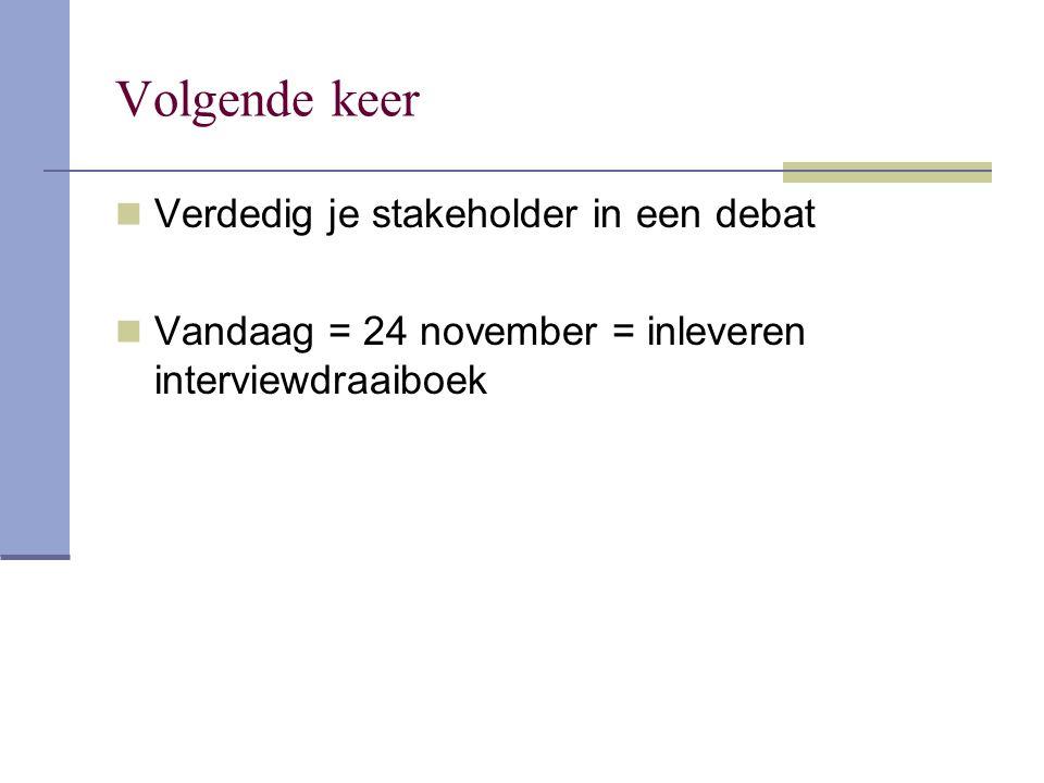 Volgende keer Verdedig je stakeholder in een debat Vandaag = 24 november = inleveren interviewdraaiboek
