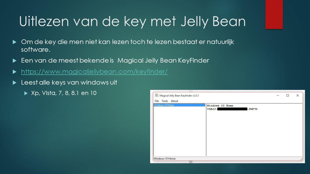 Uitlezen van de key met Jelly Bean  Om de key die men niet kan lezen toch te lezen bestaat er natuurlijk software.  Een van de meest bekende is Magi