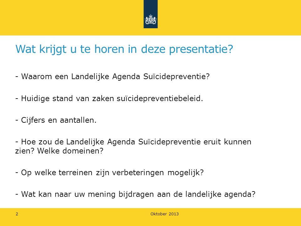 Oktober 2013 2 Wat krijgt u te horen in deze presentatie? - Waarom een Landelijke Agenda Suïcidepreventie? - Huidige stand van zaken suïcidepreventieb