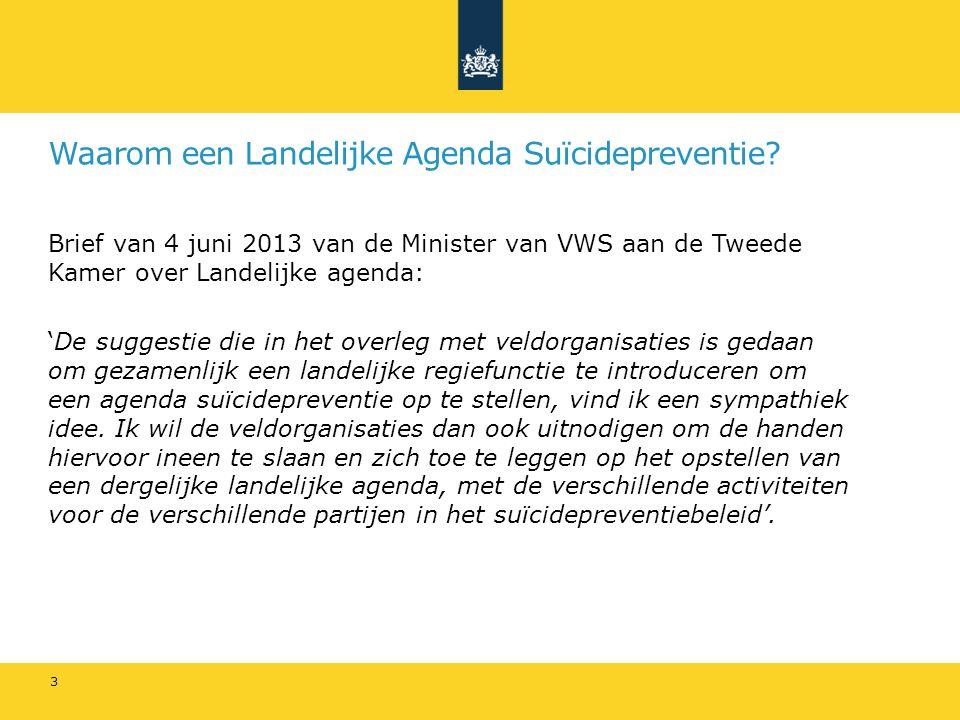 Waarom een Landelijke Agenda Suïcidepreventie? Brief van 4 juni 2013 van de Minister van VWS aan de Tweede Kamer over Landelijke agenda: 'De suggestie