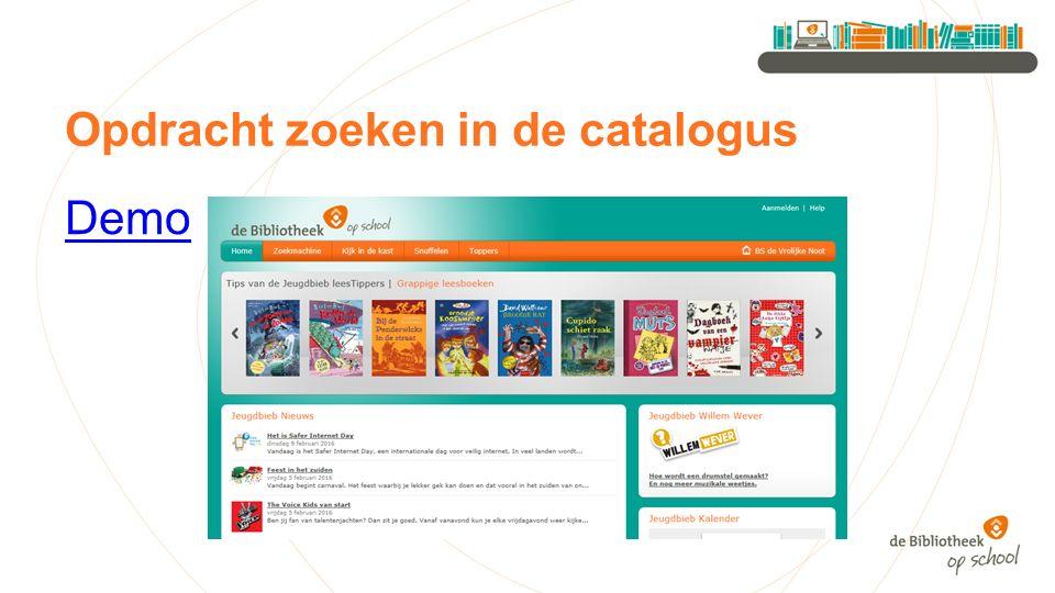 Opdracht zoeken in de catalogus Demo