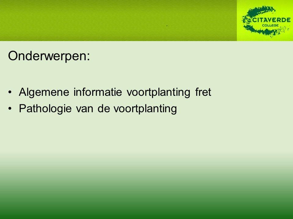 Onderwerpen: Algemene informatie voortplanting fret Pathologie van de voortplanting