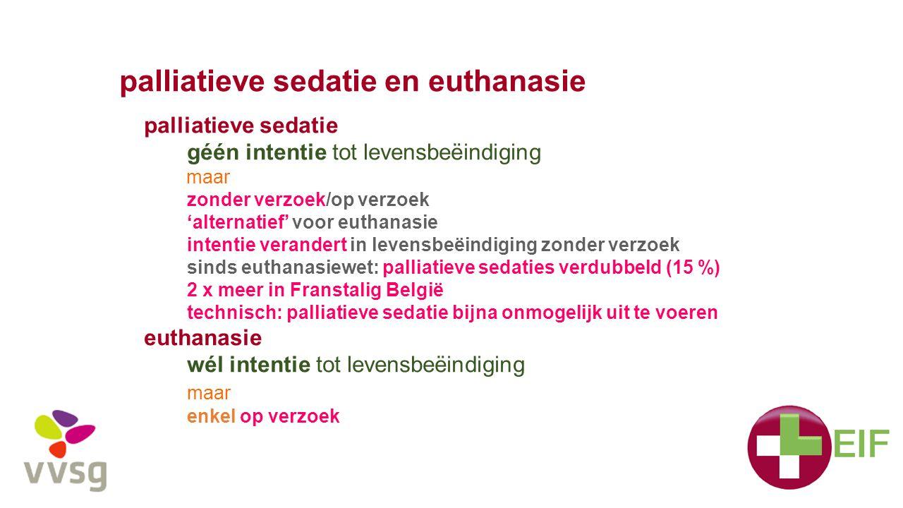 palliatieve sedatie en euthanasie palliatieve sedatie géén intentie tot levensbeëindiging maar zonder verzoek/op verzoek 'alternatief' voor euthanasie intentie verandert in levensbeëindiging zonder verzoek sinds euthanasiewet: palliatieve sedaties verdubbeld (15 %) 2 x meer in Franstalig België technisch: palliatieve sedatie bijna onmogelijk uit te voeren euthanasie wél intentie tot levensbeëindiging maar enkel op verzoek