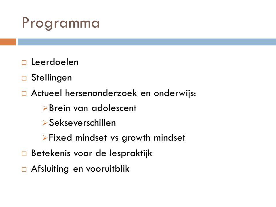 Programma  Leerdoelen  Stellingen  Actueel hersenonderzoek en onderwijs:  Brein van adolescent  Sekseverschillen  Fixed mindset vs growth mindse