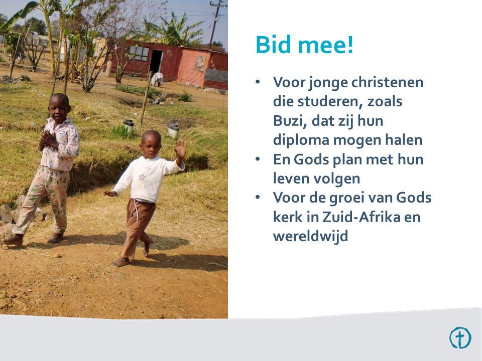 Voor jonge christenen die studeren, zoals Buzi, dat zij hun diploma mogen halen En Gods plan met hun leven volgen Voor de groei van Gods kerk in Zuid-
