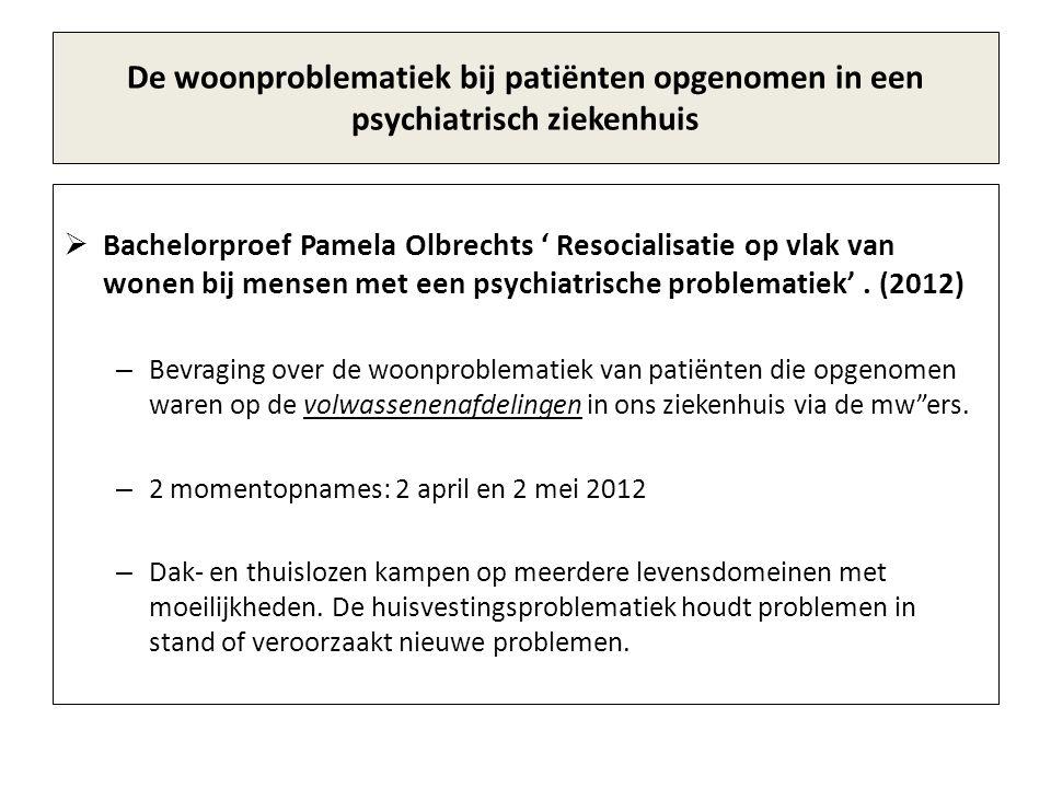 De woonproblematiek bij patiënten opgenomen in een psychiatrisch ziekenhuis  Bachelorproef Pamela Olbrechts ' Resocialisatie op vlak van wonen bij mensen met een psychiatrische problematiek'.