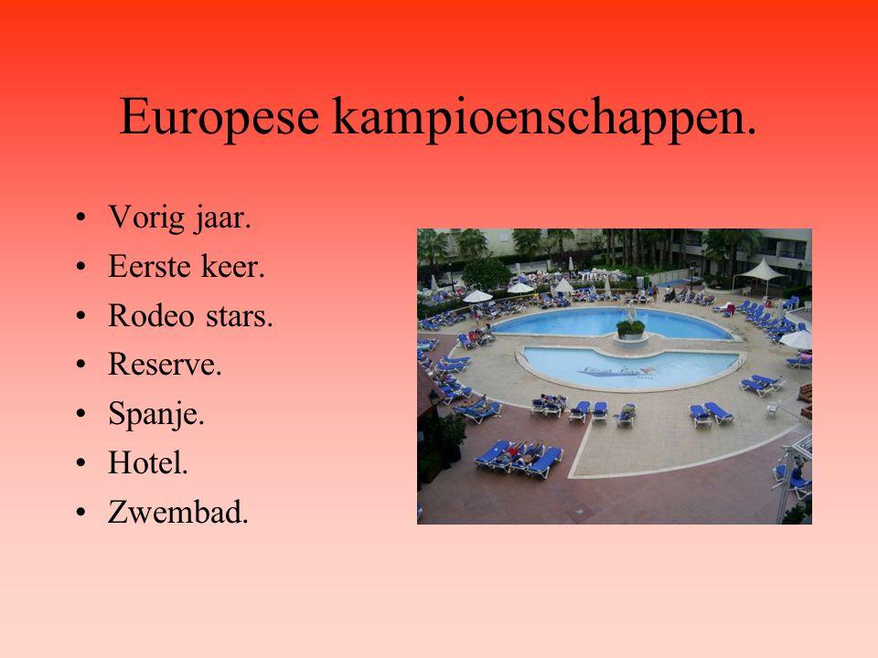 Europese kampioenschappen. Vorig jaar. Eerste keer. Rodeo stars. Reserve. Spanje. Hotel. Zwembad.