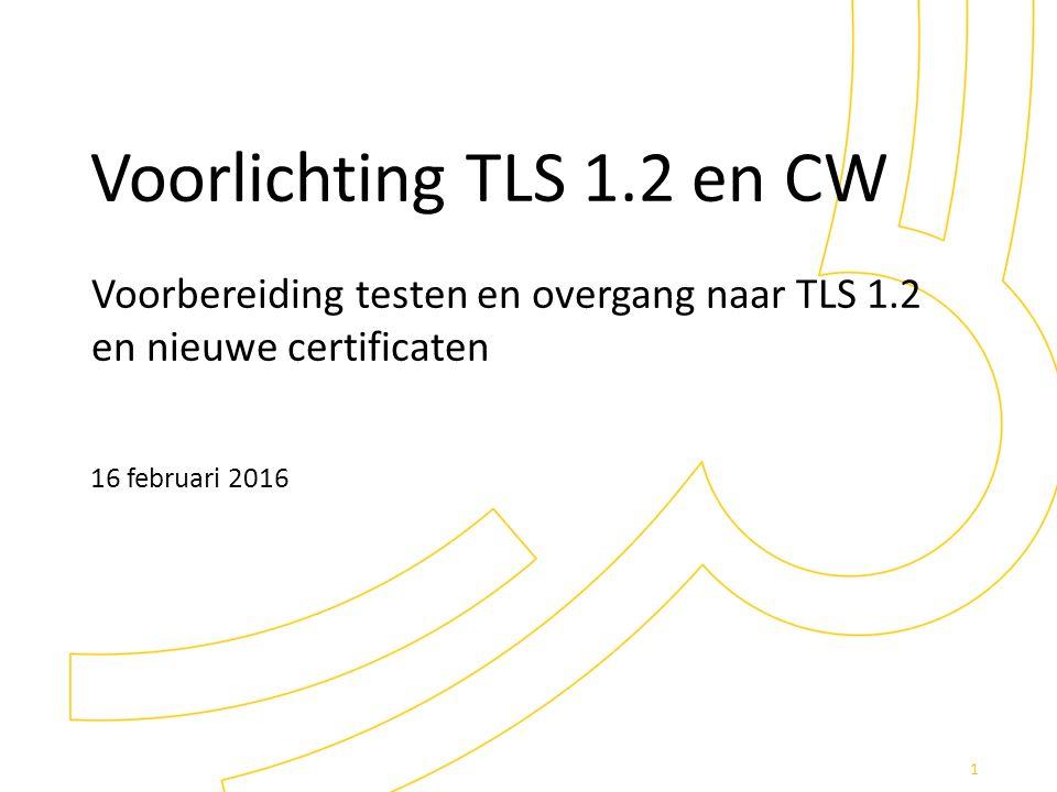 Voorlichting TLS 1.2 en CW Voorbereiding testen en overgang naar TLS 1.2 en nieuwe certificaten 16 februari 2016 1