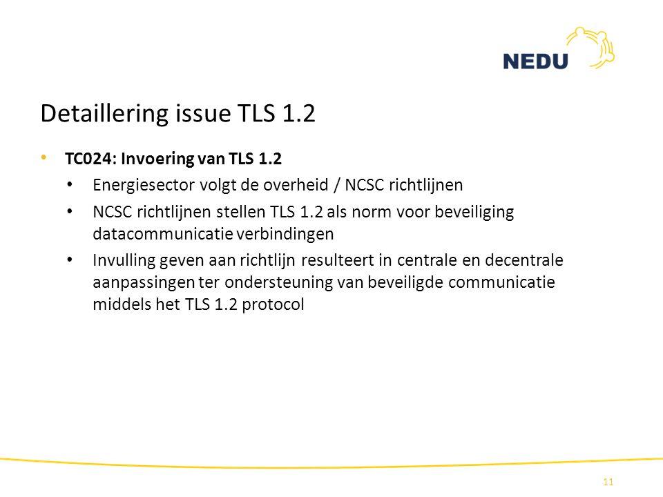 Detaillering issue TLS 1.2 TC024: Invoering van TLS 1.2 Energiesector volgt de overheid / NCSC richtlijnen NCSC richtlijnen stellen TLS 1.2 als norm v