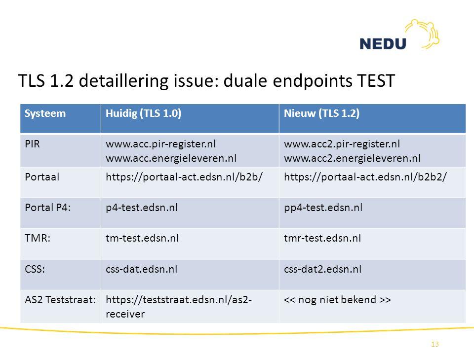 TLS 1.2 detaillering issue: duale endpoints TEST 13 SysteemHuidig (TLS 1.0)Nieuw (TLS 1.2) PIRwww.acc.pir-register.nl www.acc.energieleveren.nl www.ac