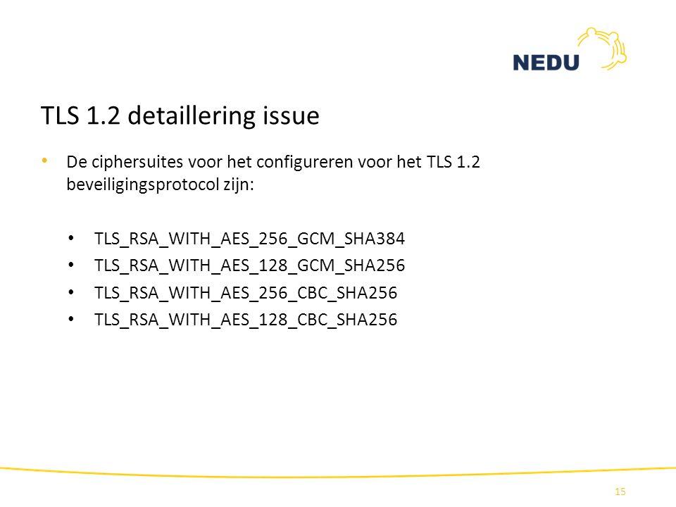TLS 1.2 detaillering issue 15 De ciphersuites voor het configureren voor het TLS 1.2 beveiligingsprotocol zijn: TLS_RSA_WITH_AES_256_GCM_SHA384 TLS_RS