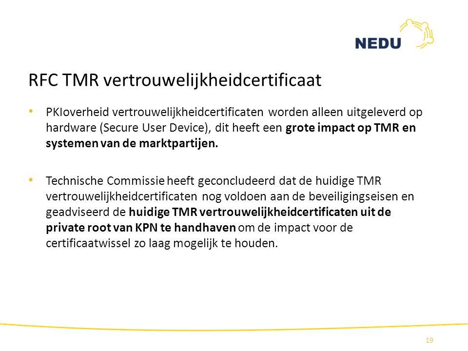 RFC TMR vertrouwelijkheidcertificaat PKIoverheid vertrouwelijkheidcertificaten worden alleen uitgeleverd op hardware (Secure User Device), dit heeft e