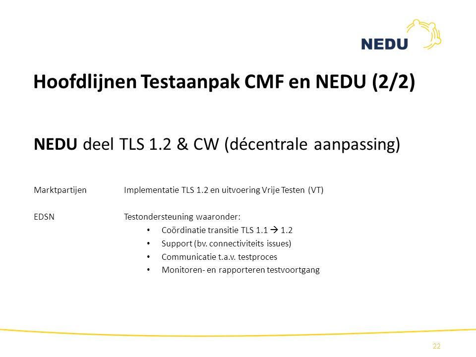 Hoofdlijnen Testaanpak CMF en NEDU (2/2) NEDU deel TLS 1.2 & CW (décentrale aanpassing) Marktpartijen Implementatie TLS 1.2 en uitvoering Vrije Testen