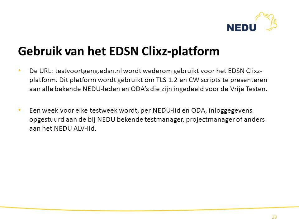 Gebruik van het EDSN Clixz-platform De URL: testvoortgang.edsn.nl wordt wederom gebruikt voor het EDSN Clixz- platform. Dit platform wordt gebruikt om