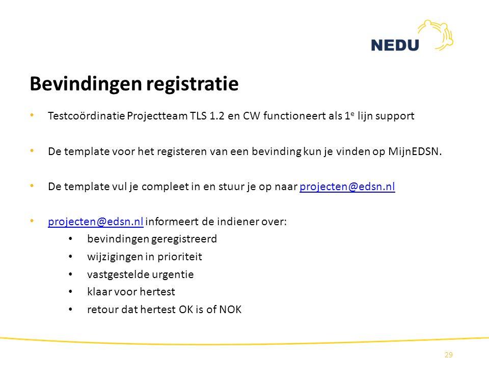 Bevindingen registratie Testcoördinatie Projectteam TLS 1.2 en CW functioneert als 1 e lijn support De template voor het registeren van een bevinding