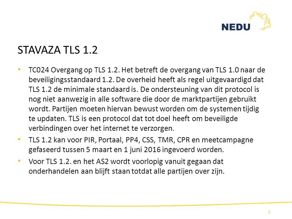 STAVAZA TLS 1.2 TC024 Overgang op TLS 1.2. Het betreft de overgang van TLS 1.0 naar de beveiligingsstandaard 1.2. De overheid heeft als regel uitgevaa