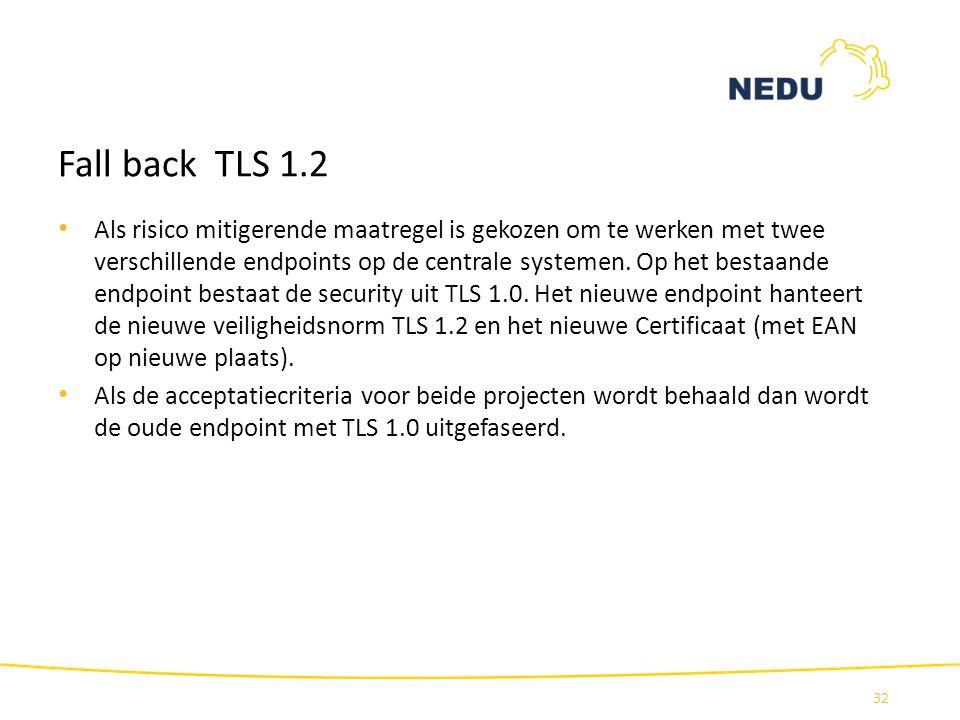 Fall back TLS 1.2 Als risico mitigerende maatregel is gekozen om te werken met twee verschillende endpoints op de centrale systemen. Op het bestaande