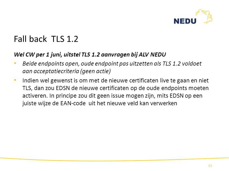 Fall back TLS 1.2 Wel CW per 1 juni, uitstel TLS 1.2 aanvragen bij ALV NEDU Beide endpoints open, oude endpoint pas uitzetten als TLS 1.2 voldoet aan