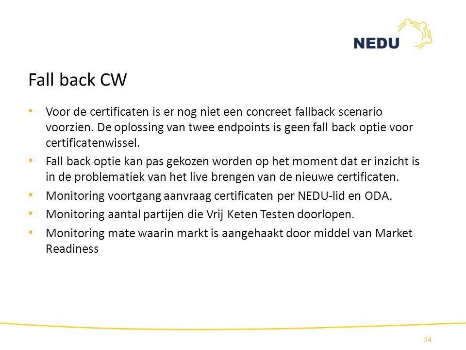 Fall back CW Voor de certificaten is er nog niet een concreet fallback scenario voorzien. De oplossing van twee endpoints is geen fall back optie voor