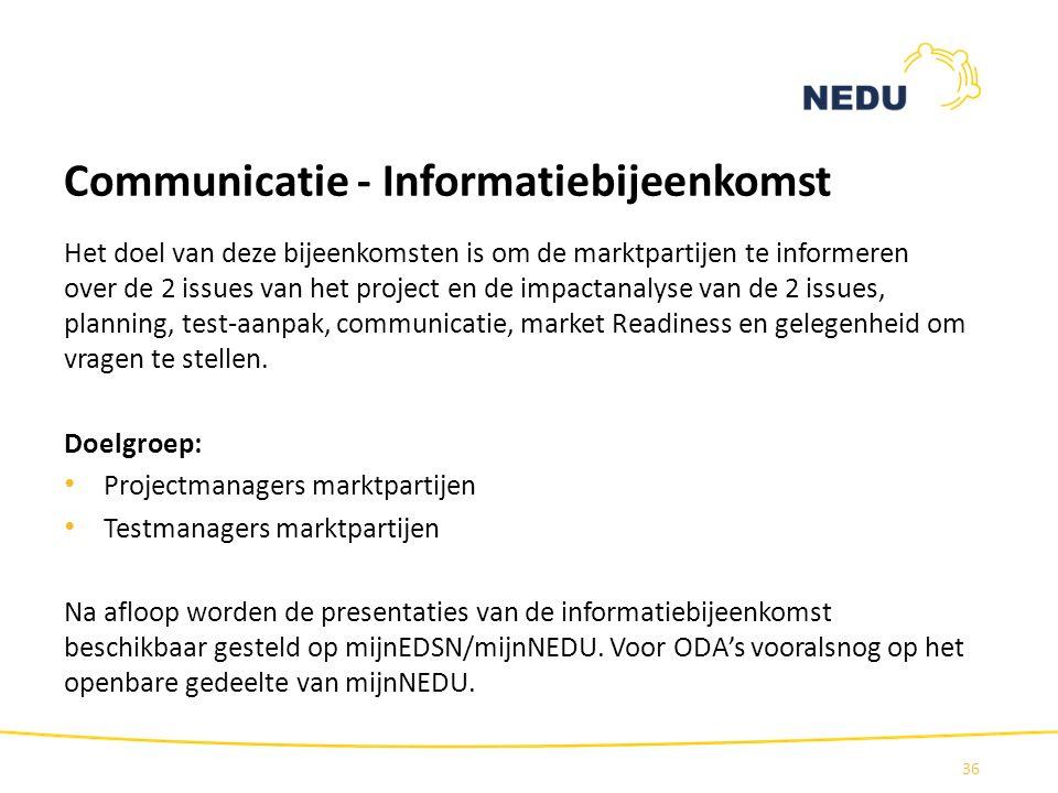 Communicatie - Informatiebijeenkomst Het doel van deze bijeenkomsten is om de marktpartijen te informeren over de 2 issues van het project en de impac