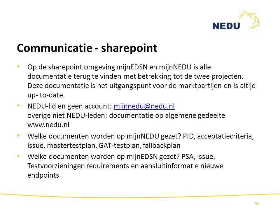 Communicatie - sharepoint Op de sharepoint omgeving mijnEDSN en mijnNEDU is alle documentatie terug te vinden met betrekking tot de twee projecten. De