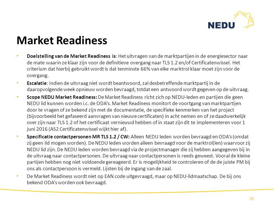 Market Readiness Doelstelling van de Market Readiness is: Het uitvragen van de marktpartijen in de energiesector naar de mate waarin ze klaar zijn voo