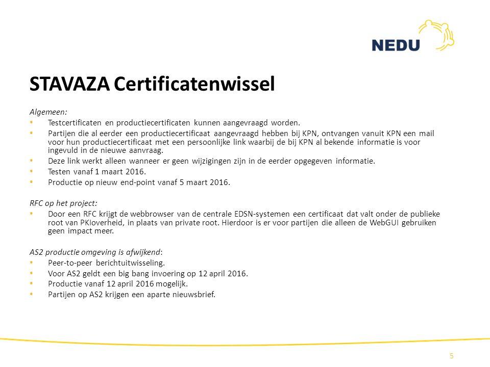 STAVAZA Certificatenwissel Algemeen: Testcertificaten en productiecertificaten kunnen aangevraagd worden. Partijen die al eerder een productiecertific