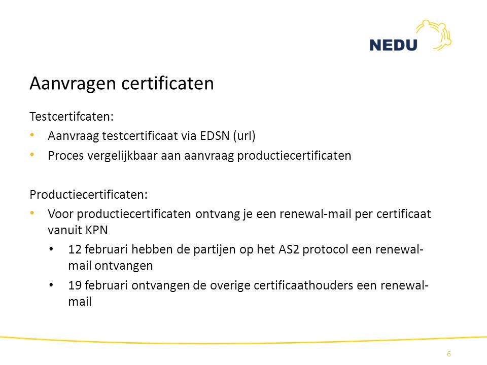 Aanvragen certificaten Testcertifcaten: Aanvraag testcertificaat via EDSN (url) Proces vergelijkbaar aan aanvraag productiecertificaten Productiecerti