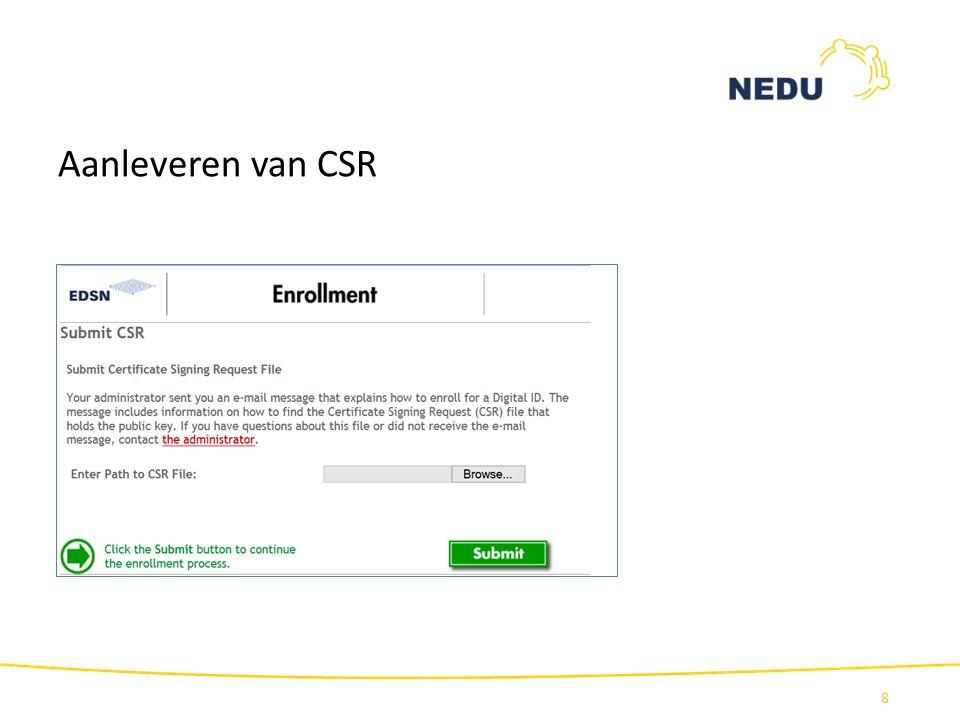 Aanleveren van CSR 8