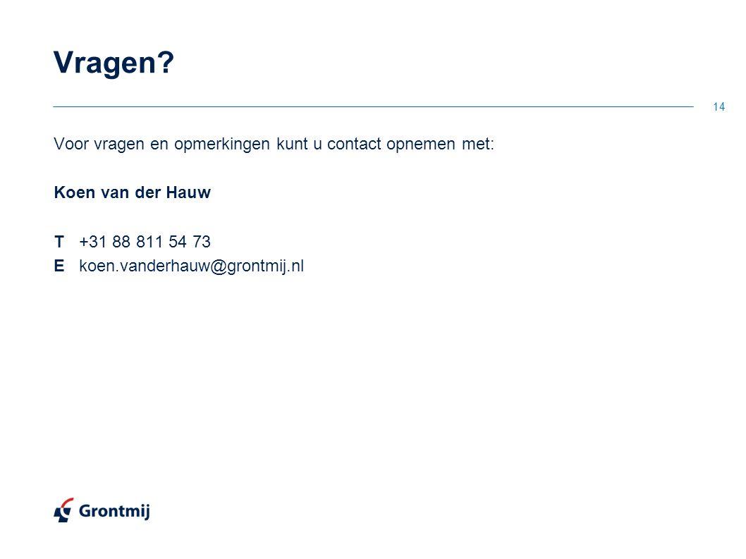 Voor vragen en opmerkingen kunt u contact opnemen met: Koen van der Hauw T+31 88 811 54 73 Ekoen.vanderhauw@grontmij.nl 14 Vragen?