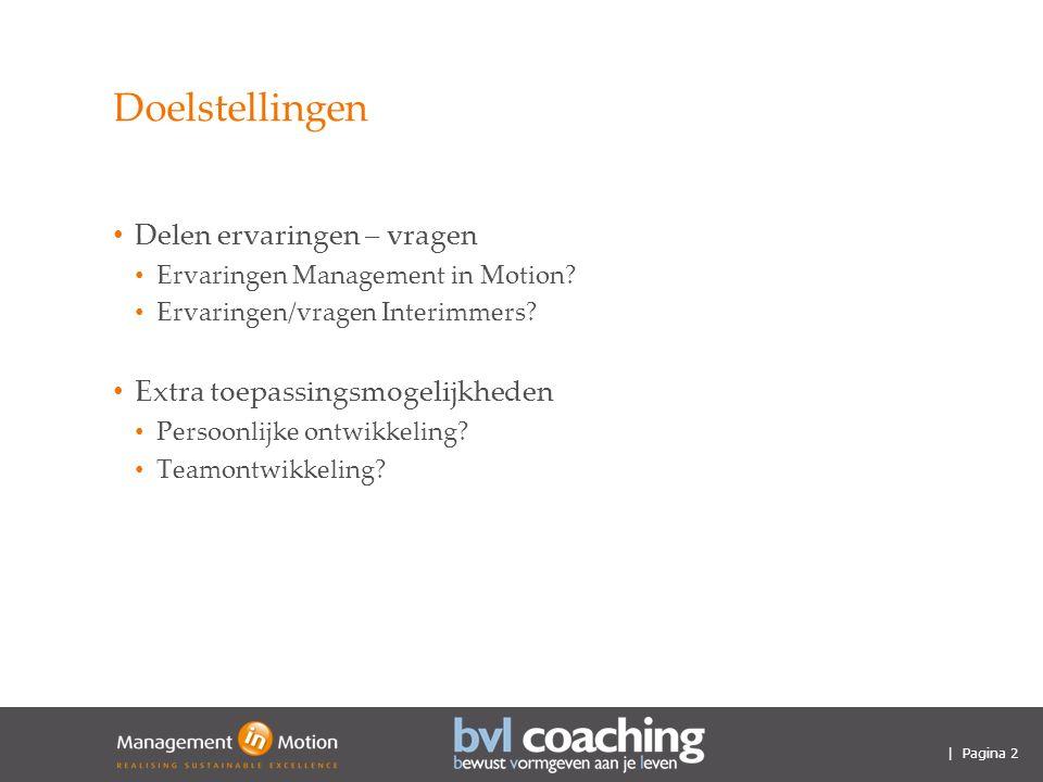| Pagina 2 Doelstellingen Delen ervaringen – vragen Ervaringen Management in Motion.