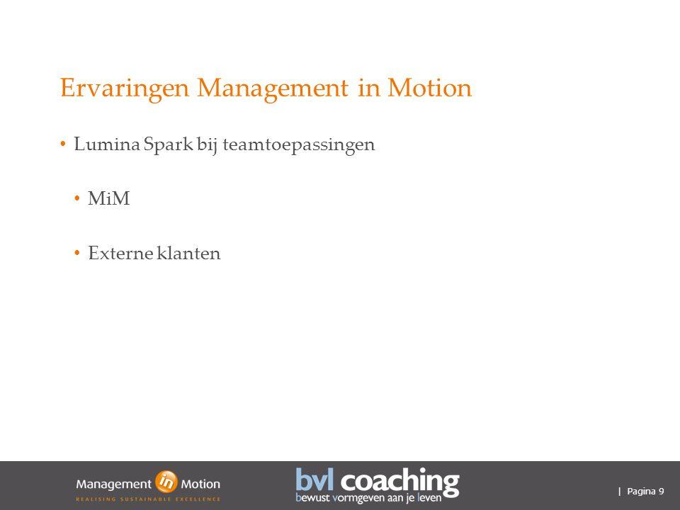 | Pagina 9 Ervaringen Management in Motion Lumina Spark bij teamtoepassingen MiM Externe klanten