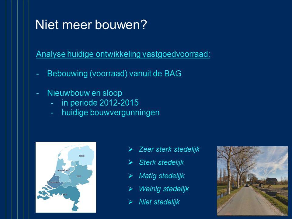 Niet meer bouwen? Analyse huidige ontwikkeling vastgoedvoorraad: -Bebouwing (voorraad) vanuit de BAG -Nieuwbouw en sloop -in periode 2012-2015 -huidig