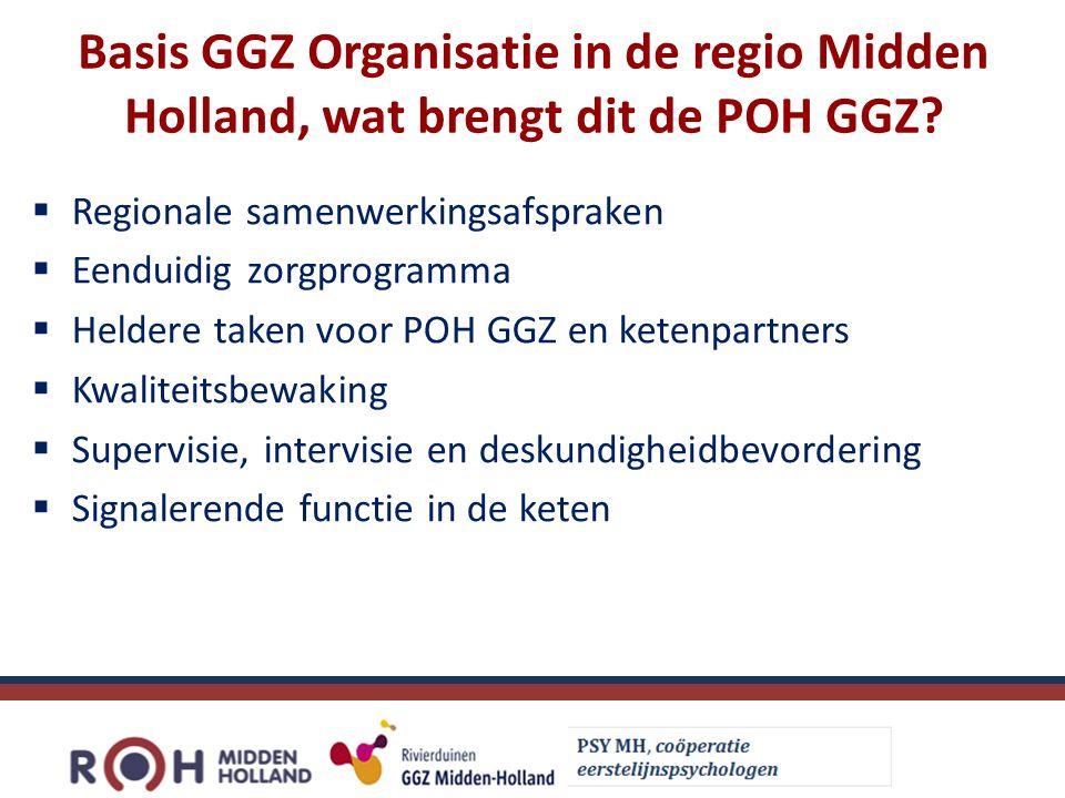Basis GGZ Organisatie in de regio Midden Holland, wat brengt dit de POH GGZ.
