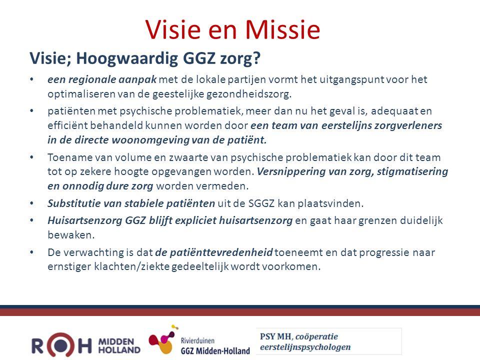 Visie en Missie Visie; Hoogwaardig GGZ zorg.