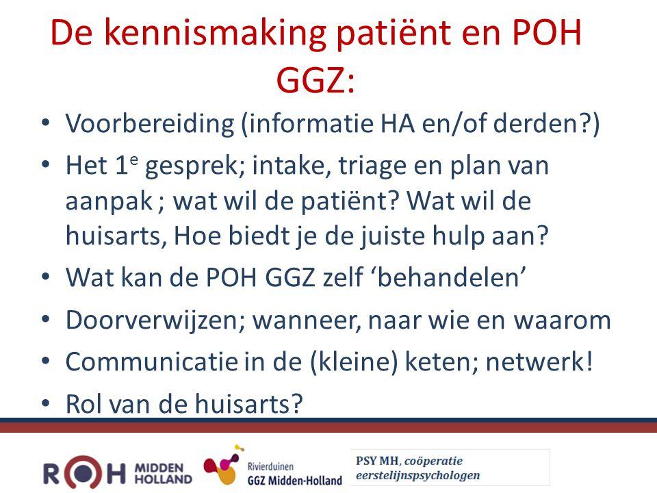 De kennismaking patiënt en POH GGZ: Voorbereiding (informatie HA en/of derden ) Het 1 e gesprek; intake, triage en plan van aanpak ; wat wil de patiënt.