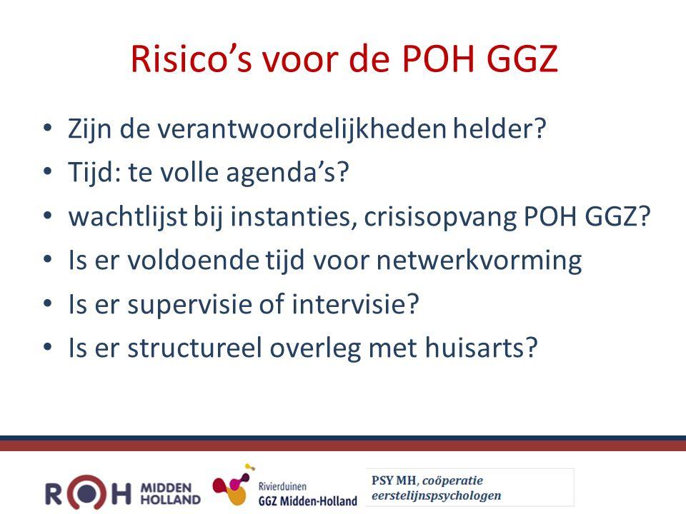 Risico's voor de POH GGZ Zijn de verantwoordelijkheden helder.