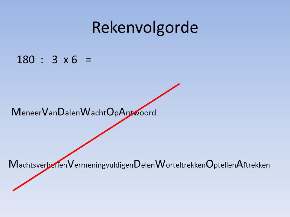 Rekenvolgorde 180 : 3 x 6 = 1.Eerst wat tussen haakjes staat 2.Machtsverheffen ( en worteltrekken) 3.Vermenigvuldigen en delen zijn gelijkwaardig – Dus in volgorde van links naar rechts 4.Optellen en aftrekken zijn gelijkwaardig – Dus in volgorde van links naar rechts