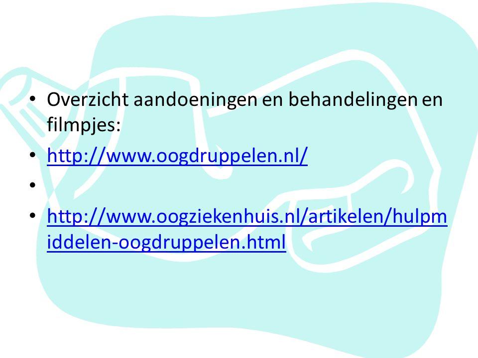 Overzicht aandoeningen en behandelingen en filmpjes: http://www.oogdruppelen.nl/ http://www.oogziekenhuis.nl/artikelen/hulpm iddelen-oogdruppelen.html http://www.oogziekenhuis.nl/artikelen/hulpm iddelen-oogdruppelen.html
