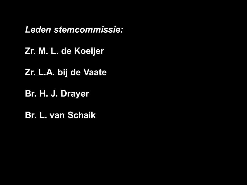 Leden stemcommissie: Zr. M. L. de Koeijer Zr. L.A. bij de Vaate Br. H. J. Drayer Br. L. van Schaik