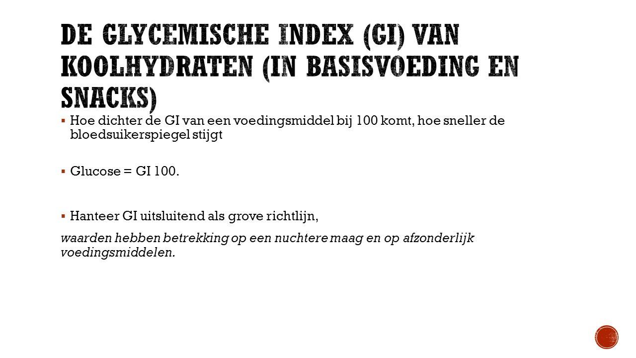  Hoe dichter de GI van een voedingsmiddel bij 100 komt, hoe sneller de bloedsuikerspiegel stijgt  Glucose = GI 100.