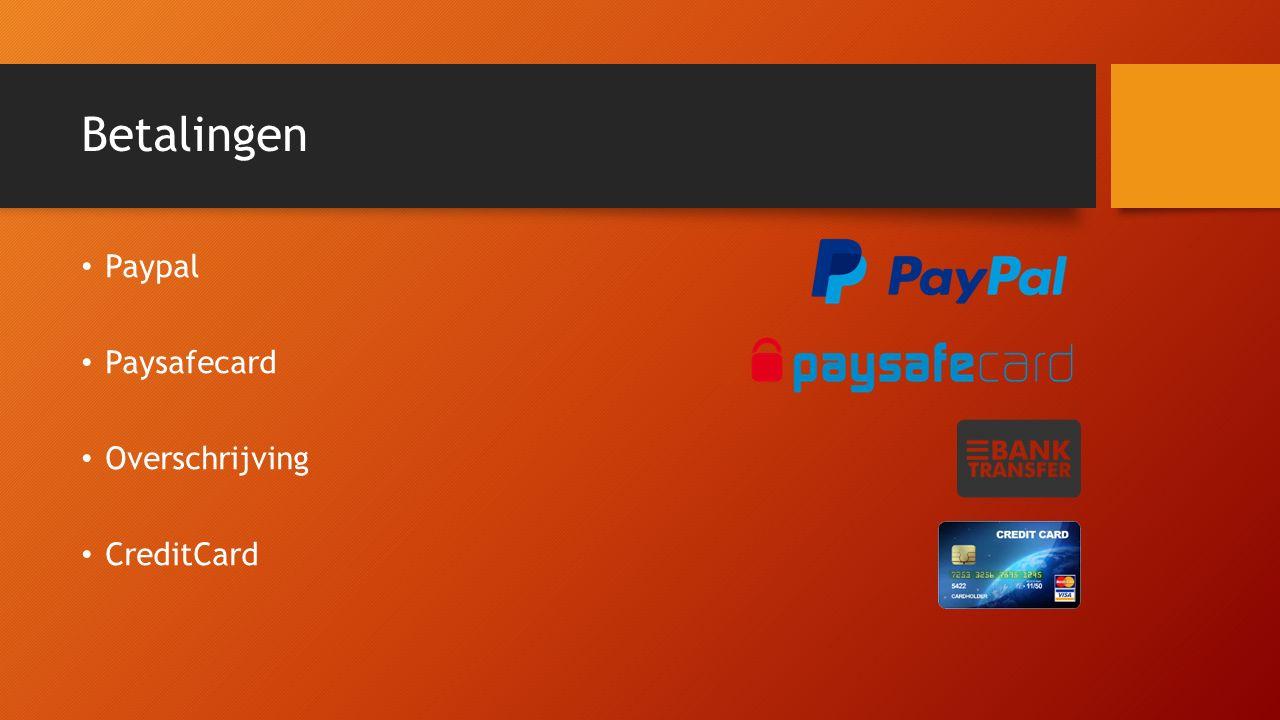 Betalingen Paypal Paysafecard Overschrijving CreditCard