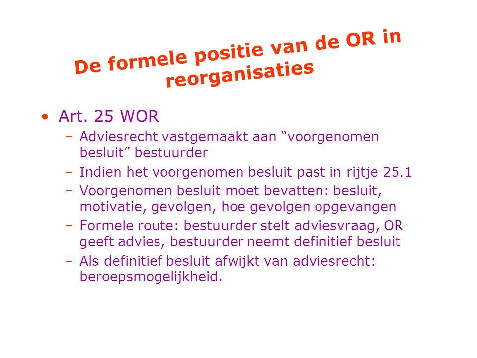 De formele positie van de OR in reorganisaties Art.