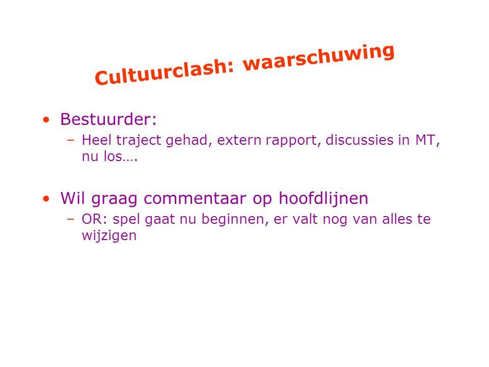 Cultuurclash: waarschuwing Bestuurder: –Heel traject gehad, extern rapport, discussies in MT, nu los….